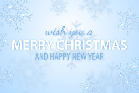 Merry Christmas and Happy New Year greeting vector illustration with glitters, sparkles and glowing snowflakes for holiday poster, placard, banner, flyer and brochure. Blue winter frosty background