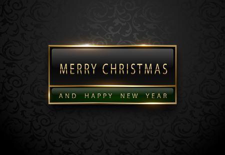 Merry Chistmas and happy new year banner. Premium black green label with golden frame on black floral pattern background. Dark luxury template. Vector illustration. Çizim