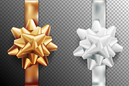 Golden, silver white gift bow set vertical ribbon. Isolated on transparent background. Vector illustration. Christmas, New Year, birthday gold decoration. Banner, greeting card, poster