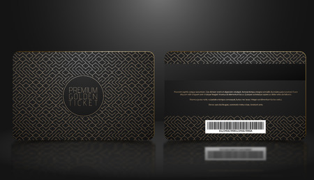 Vector template of membership or loyalty black VIP card with luxury golden geometric pattern. Front and back design presentation. Premium member, gift plastic card