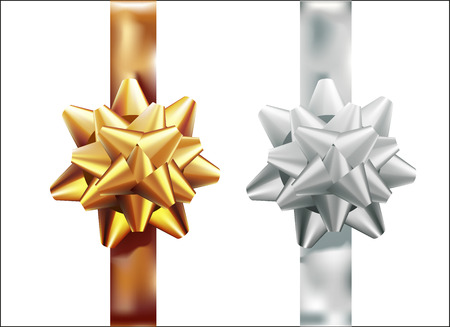 Golden, silver gift bow set vertical ribbon. Isolated on white background. Vector illustration. Christmas, New Year, birthday gold decoration. Banner, greeting card, poster