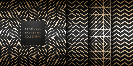 Seamless vector geometric golden element pattern set. Abstract background gold texture on black. Simple minimalistic dark print collection. Web page fill modern trellis grid. Trendy hipster geometry