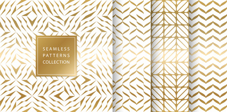 Set of golden seamless patterns. Vector texture design. Abstract seamless geometric pattern on white background. Simple minimalistic gold print collection. Web page fill modern hipster geometry