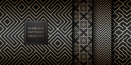 Geometric seamless golden pattern background. Simple vector graphic black print. Repeating line abstract texture set. Minimalistic shapes. Stylish trellis square gold grid. Geometry web page fill Çizim