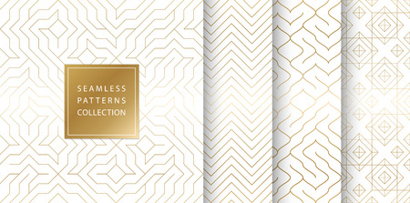 Geometric seamless golden pattern background. Simple vector graphic white print. Repeating line abstract texture set. Minimalistic shapes. Stylish trellis square gold grid. Geometry web page fill