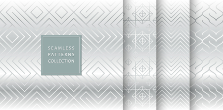 Geometric seamless silver pattern background. Simple vector graphic gray print. Repeating line abstract texture set. Minimalistic shapes. Stylish trellis square metal grid. Geometry web page fill