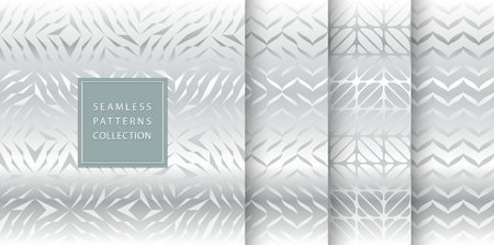 Set of silver seamless pattern. Vector texture design. Abstract seamless geometric pattern light background. Simple minimalistic gray gradient print collection. Web page fill modern hipster geometry Çizim
