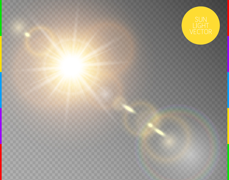 Vector transparent sunlight special lens flare light effect. Isolated sun flash rays and spotlight. Golden front translucent sunlight background. Blur abstract glow glare decor element. Star burst
