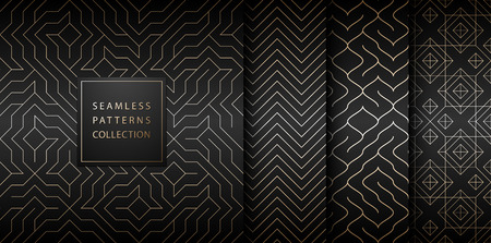 Collection of seamless geometric golden minimalistic patterns. Simple vector graphic black print background. Repeating line abstract texture set. Stylish trellis gold square. Geometry web page fill