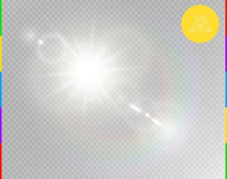 Vector transparent sunlight special lens flare light effect. Isolated sun flash rays and spotlight. White front translucent sunlight background. Blur abstract glow glare decor element. Star burst Çizim