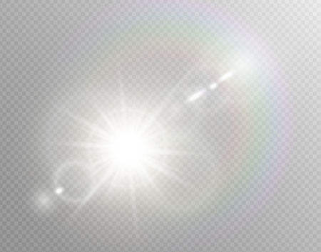 Vector transparent sunlight special lens flare light effect. Isolated sun flash rays spotlight. White front translucent sunlight background. Blur abstract glow glare decor element. Star burst