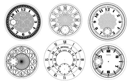 Zifferblatt leer Set isoliert auf weißem Hintergrund. Vektoruhrendesign. Vintage römische Ziffernuhrillustration. Runde Skala mit schwarzen Zahlen