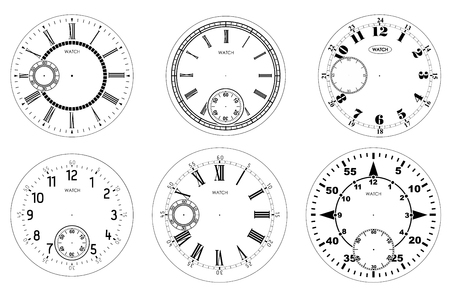 Clock face blank set isolated on white background. Vector watch design. Vintage roman numeral clock illustration. Black number round scale