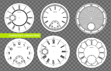 Clock face blank set isolated on transparent background. Vector watch design. Vintage roman numeral clock illustration. Black number round scale on white circle