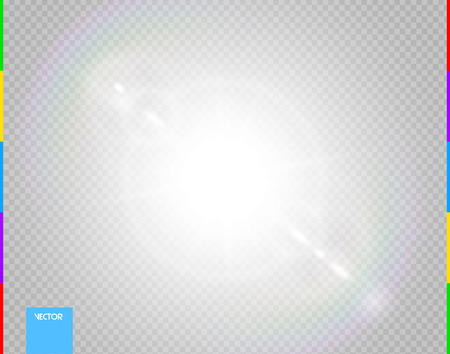 Vector sun. Glow transparent sunlight special lens flare light effect. Isolated flash rays and spotlight. White front translucent background. Blur abstract decor element. Star burst with spark Çizim
