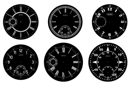 Clock face blank set isolated on white background. Vector watch design. Vintage roman numeral clock illustration. White number round scale on black circle