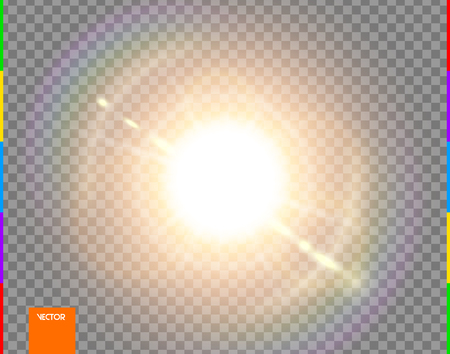 Vector sun. Glow transparent sunlight special lens flare light effect. Isolated flash rays and spotlight. Golden front translucent background. Blur abstract decor element. Star burst with spark