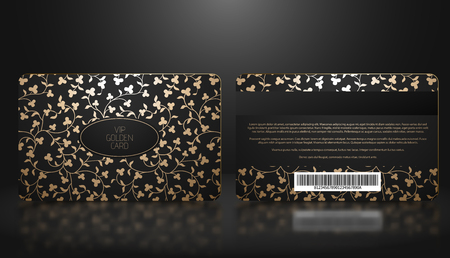 Vector template of membership or loyalty black VIP card with luxury elegant golden floral pattern. Front and back design presentation. Premium member, gift plastic card