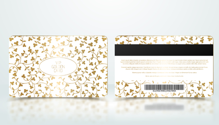 Vector template of membership or loyalty white VIP card with luxury elegant golden floral pattern. Front and back design presentation. Premium member, gift plastic card Çizim