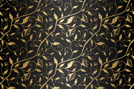 Seamless vector golden texture floral pattern. Luxury repeating damask black background. Premium wrapping paper or silk gold cloth with leaves and flowers
