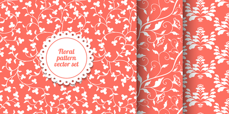 Collection of seamless coral pink floral patterns. Living Coral - 2019 Color of the Year. White laves and flowers vector texture. Repeating damask background. Wrapping paper or cloth print. Page fill. Çizim