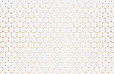 Abstract embossing volume white texture, vector seamless pattern. Depressed round shape background, 3d geometric pattern. Round dot with golden ring backdrop. Futuristic wallpaper. Like a plates Çizim