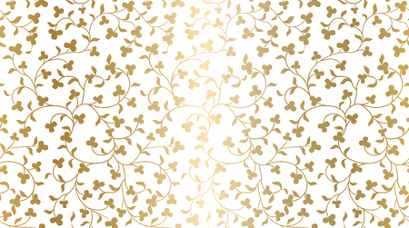 Seamless vector golden texture floral pattern. Luxury repeating damask white background. Premium wrapping paper or silk gold cloth