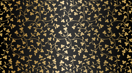 Seamless vector golden texture floral pattern. Luxury repeating damask black background. Premium wrapping paper or silk gold cloth