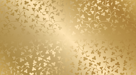 Seamless vector golden texture floral pattern. Luxury repeating damask background. Premium wrapping paper or silk gold cloth