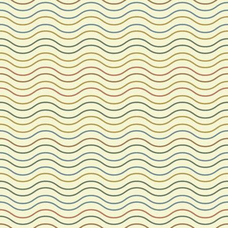 Seamless ethnic textile seamless vector pattern. Geometric thin wave native print. Folk mexican ornament. Ancient african style design. Simple line retro color background. Childrens cloth backdrop Ilustração