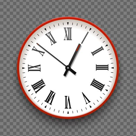 Red and white wall office clock icon with roman numbers. Design template vector closeup. Mock-up for branding and advertise isolated on transparent background. Realistic round clock-face dial Çizim