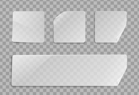 Vector blank transparent plastic square adhesive sticker mock up with curved corner. Empty quadratic sticky label banner mockup with fold. Clear adherent tag template for glass surface