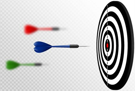 Vector blue dart arrows flying to target dartboard. Metaphor to target success, winner concept. Isolated on white transparent background Illustration
