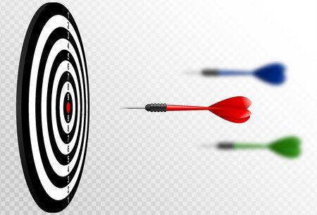 Frecce rosse del dardo di vettore che volano al bersaglio per le freccette. Metafora per mirare al successo, concetto del vincitore. Isolato su sfondo bianco trasparente Vettoriali