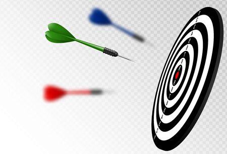Vector green dart arrows flying to target dartboard. Metaphor to target success, winner concept. Isolated on white transparent background