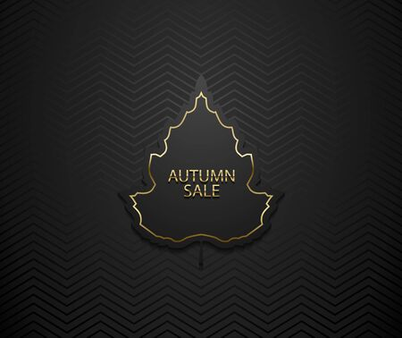 Autumn sale vector luxury banner. Golden text and frame on black tree leaf frame. Dark geometric zigzag pattern background.