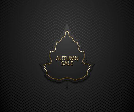 Autumn sale vector luxury banner. Golden text and frame on black tree leaf frame. Dark geometric zigzag pattern background.