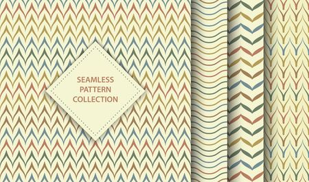 Seamless vector ethnic textile pattern set. Abstract background geometric zig zag texture. Simple minimalistic native print collection. Web page fill folk mexican or african line chevron ornament