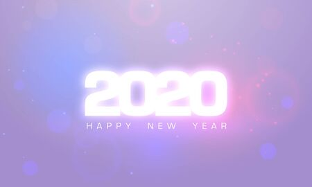 2020 Happy New Year glow text design. Greeting card for 2020 with wishes. Brochure design template, poster, banner or flyer. Vector white fireworks sparks background. Neon purple light flare.