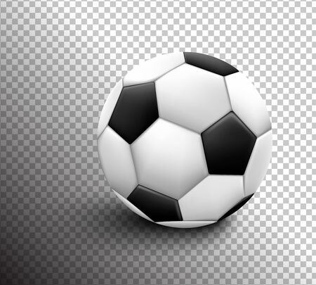 Soccer ball isolated on transparent background. Sport icon or design element. World or Europe championship. Ilustração