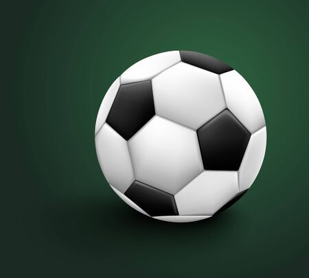 Soccer ball isolated on green background. Sport icon or design element. World or Europe championship.
