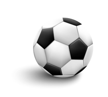 Soccer ball isolated on white background. Sport icon or design element. World or Europe championship.