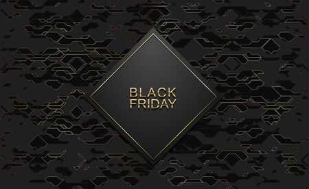 Black friday luxury banner. Golden text on black rhombus label frame. Dark technology geometric gold line pattern background. Vector illustration. Vip invitation or greeting card design.