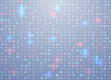 Vector hex code background with highlight an important element, error, memory vulnerability. Big data and programming hacking, decryption and encryption, computer streaming. Coding Hacker.