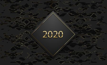 2020 luxury banner. Golden text on black rhombus label frame. Dark technology geometric gold line pattern background. Vector illustration. Vip invitation or greeting card design.