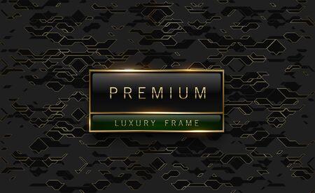 Premium black green label with golden frame on black geometric background golden lines. Dark luxury logo template. Vector illustration.