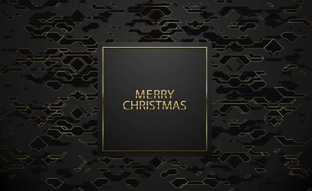 Merry Christmas luxury banner. Golden text on black square label frame. Dark technology geometric gold line pattern background. Vector illustration. Vip invitation or greeting card design.