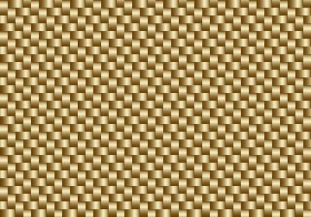Nahtloser Hintergrund der goldenen Kohlefaser des Vektors. Abstrakte Stofftapete für Autotuning oder Service. Endlose Webtextur oder Seitenfüllmuster.