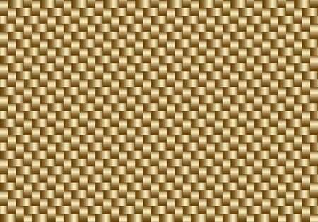Vector golden carbon fiber seamless background. Abstract cloth material wallpaper for car tuning or service. Endless web texture or page fill pattern.
