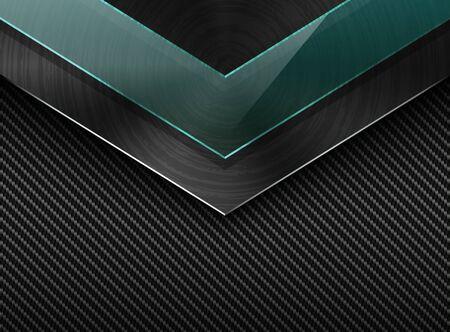 Vector black carbon fiber background with corner brushed metal plate and green transparent glass. Industrial elegant arrow design illustration.